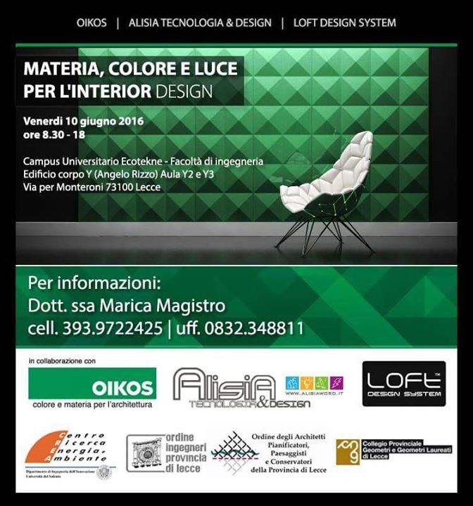 Materia colore e luce per l 39 interior design lecce for Corsi interior design lecce