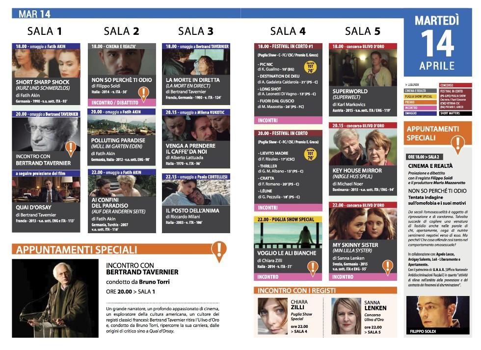 Programmazione 14 Aprile Per Il Festival Del Cinema